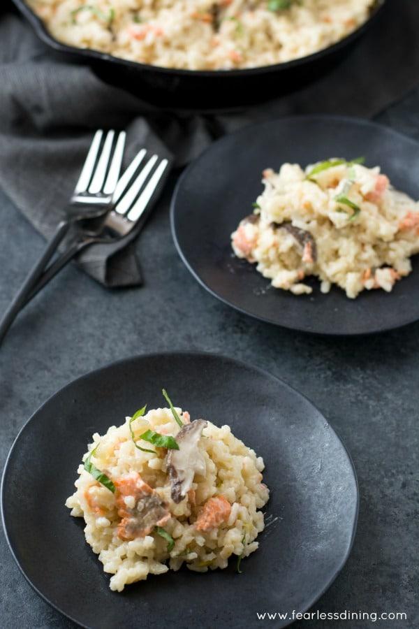 Pan Smoked Salmon and Shiitake Mushroom Risotto | High Country Olive Oil