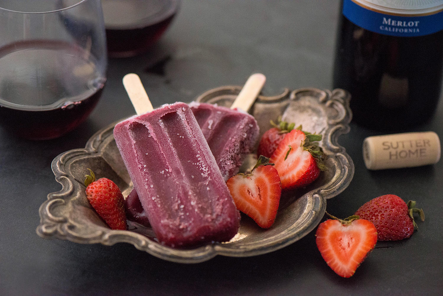 Roasted Balsamic Strawberry Merlot Poptails