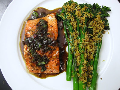Pan-Roasted Salmon with Citrus-Balsamic Vinaigrette and Sautéed Broccolini with Orange-Panko Crust | High Country Olive Oil