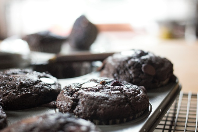 Double Chocolate Cherry Muffins | High Country Olive Oil